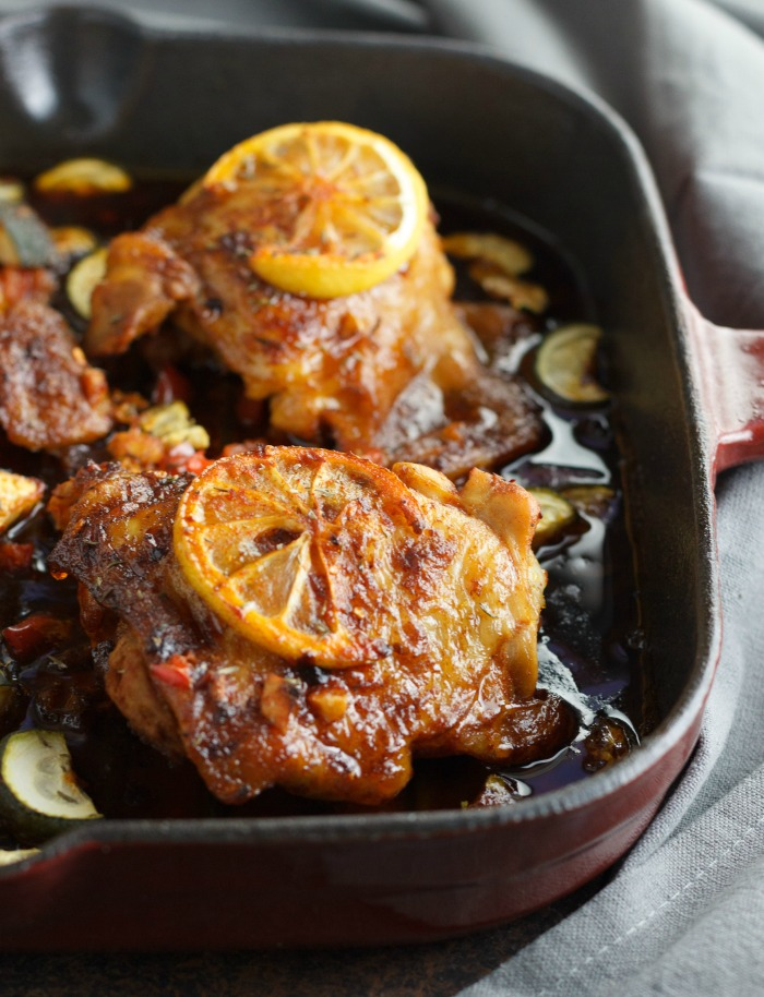 One Skillet Keto Portuguese Style Chicken- low carb, paleo and Whole30