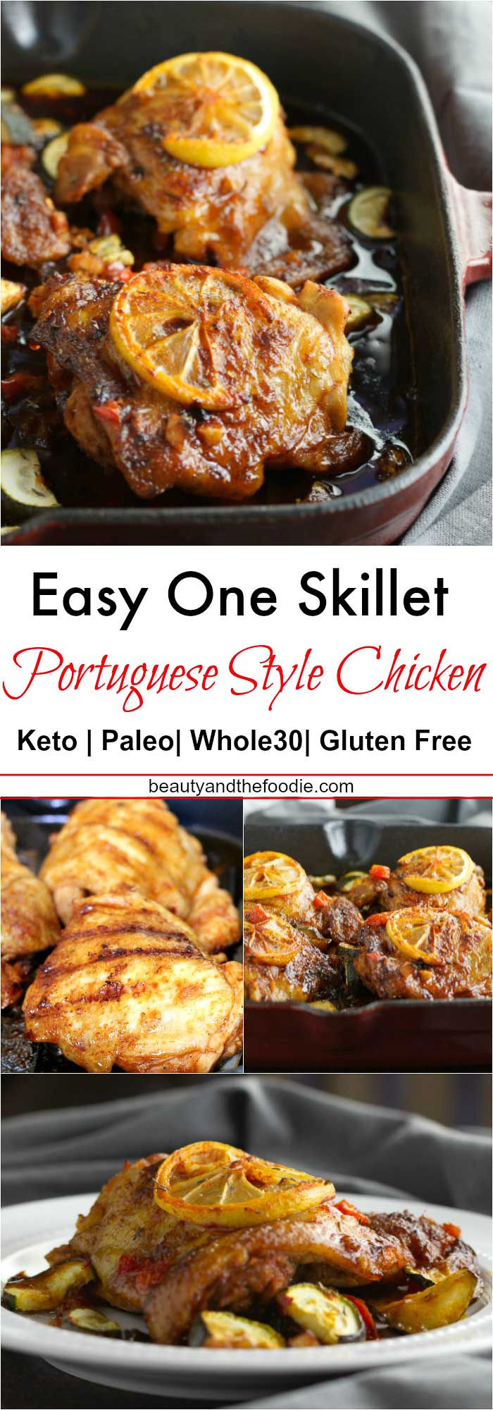 One Skillet Keto Portuguese Style Chicken- low carb, paleo and Whole30.