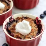 Keto Mixed Berry Crumble Pots- A simple, gluten free low carb treat.