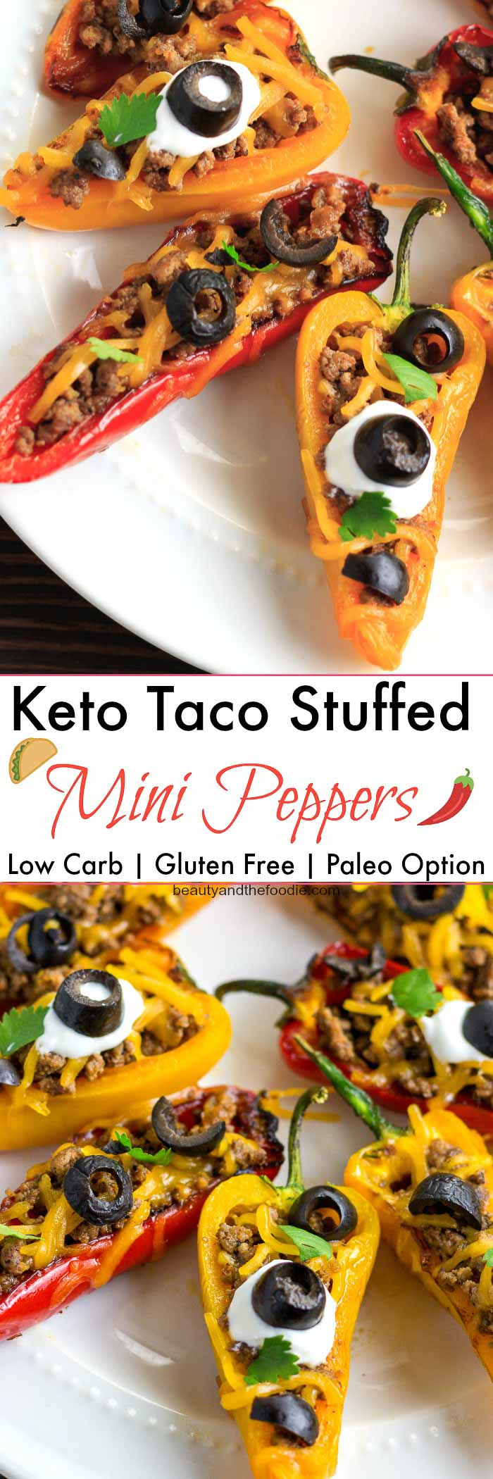 Keto Taco Stuffed Mini Peppers- low carb with paleo option.