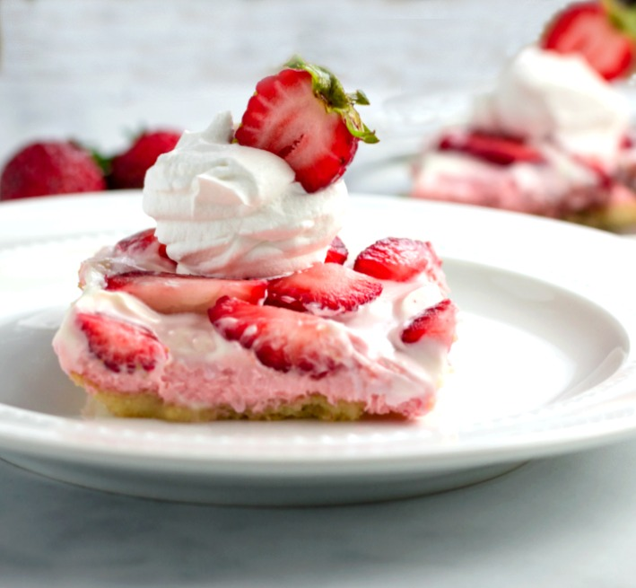 Keto Strawberry Cream Pie Bars- Keto, low carb, and gluten free.