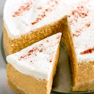 Keto Instant Pot Pumpkin Cheesecake with Sour Cream Topping