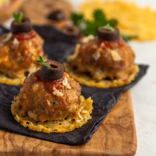 Keto Meatball Cheese Crisps- low carb and gluten free appetizer.
