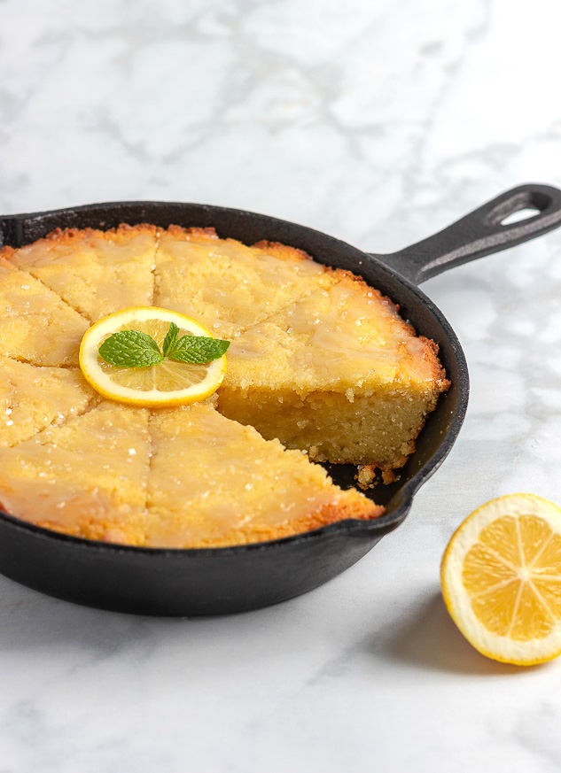 Keto Lemon Skillet Cake- Low carb & gluten lemon cake