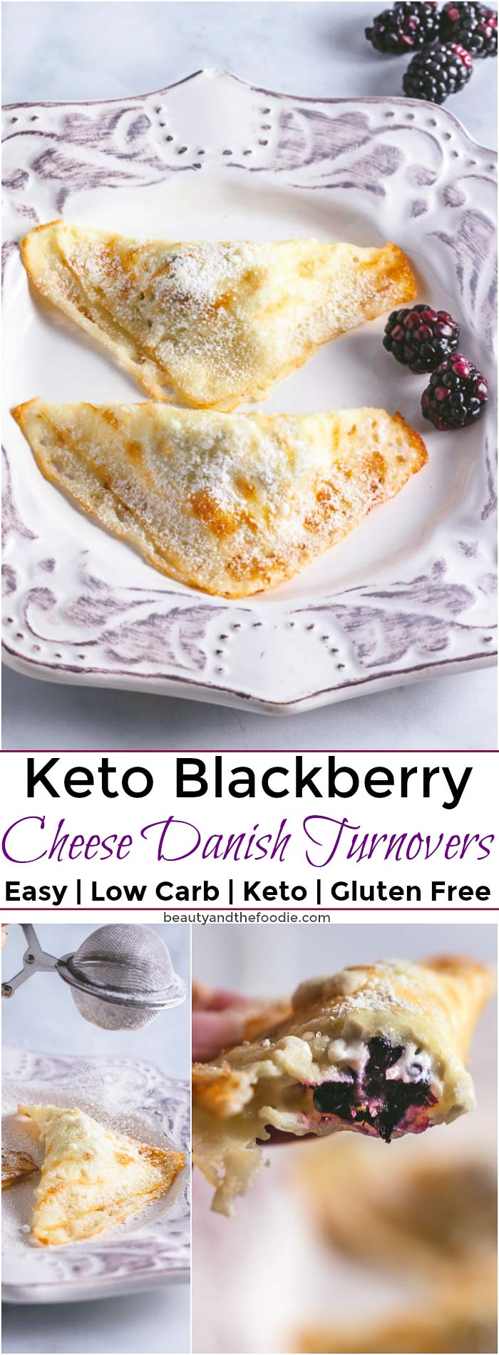 Keto Blackberry Cheese Danish Turnovers- Low carb, easy to make turnovers.