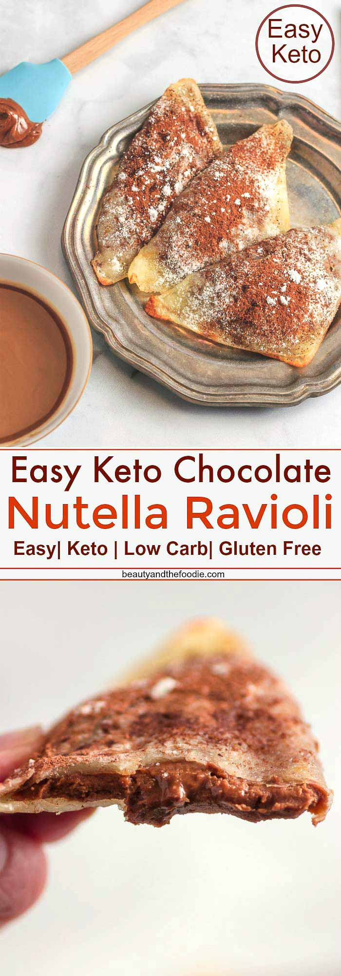 Easy Keto Chocolate Nutella Ravioli- Low Carb, keto & gluten free
