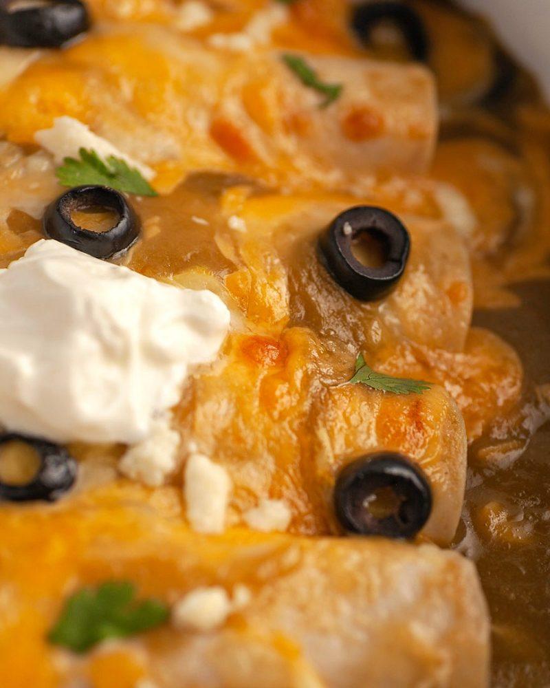 Easy Keto Chicken Verde Enchiladas- Low Carb & Gluten Free.
