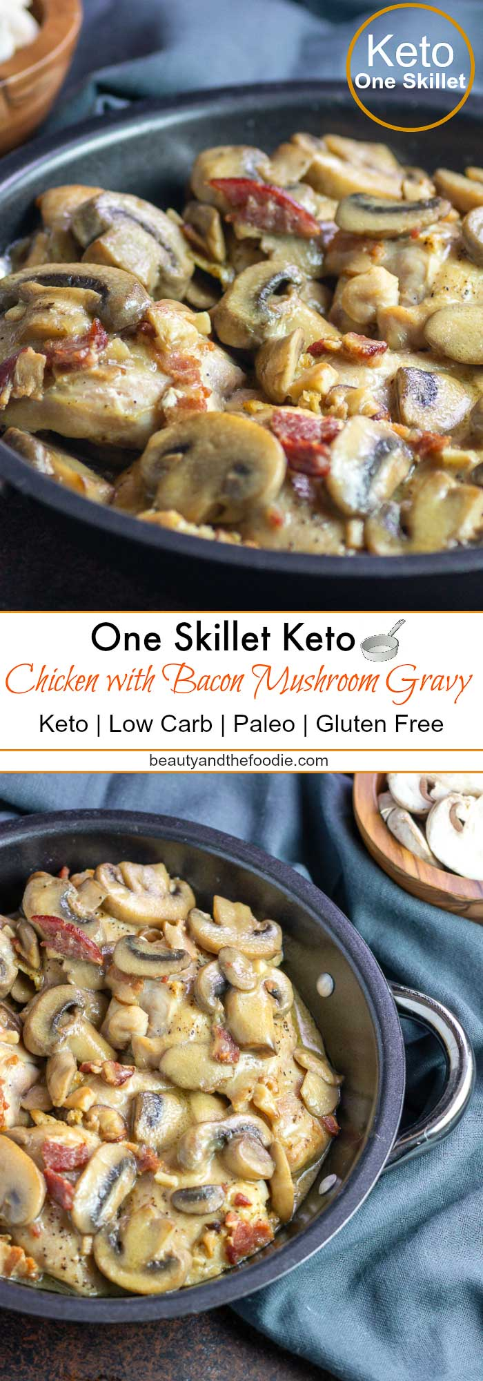 One Skillet Keto Chicken with bacon Mushroom Gravy- Low Carb & Paleo