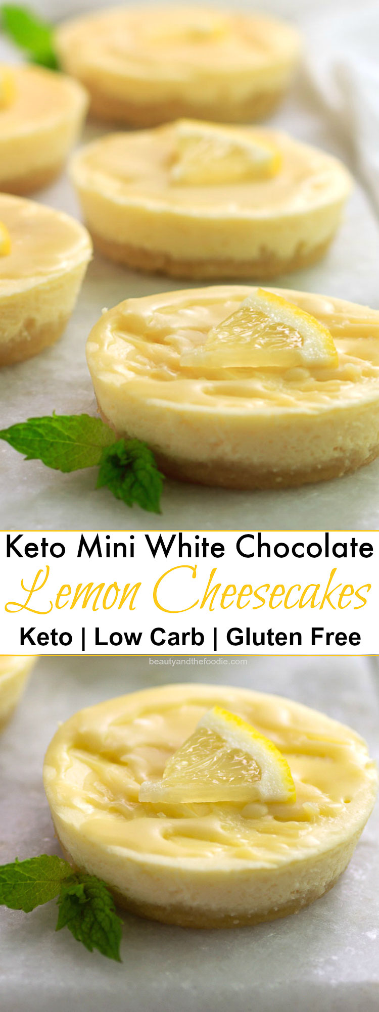 Keto White Chocolate Lemon Cheesecake Minis- Low Carb & Gluten Free