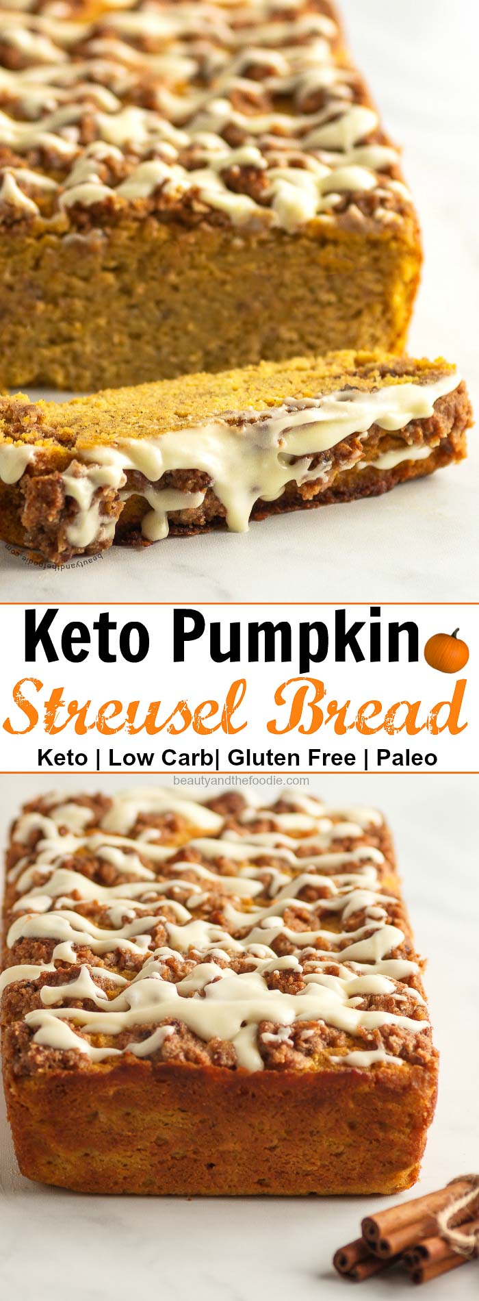Keto Pumpkin Streusel Bread- Low carb, paleo option, & gluten free