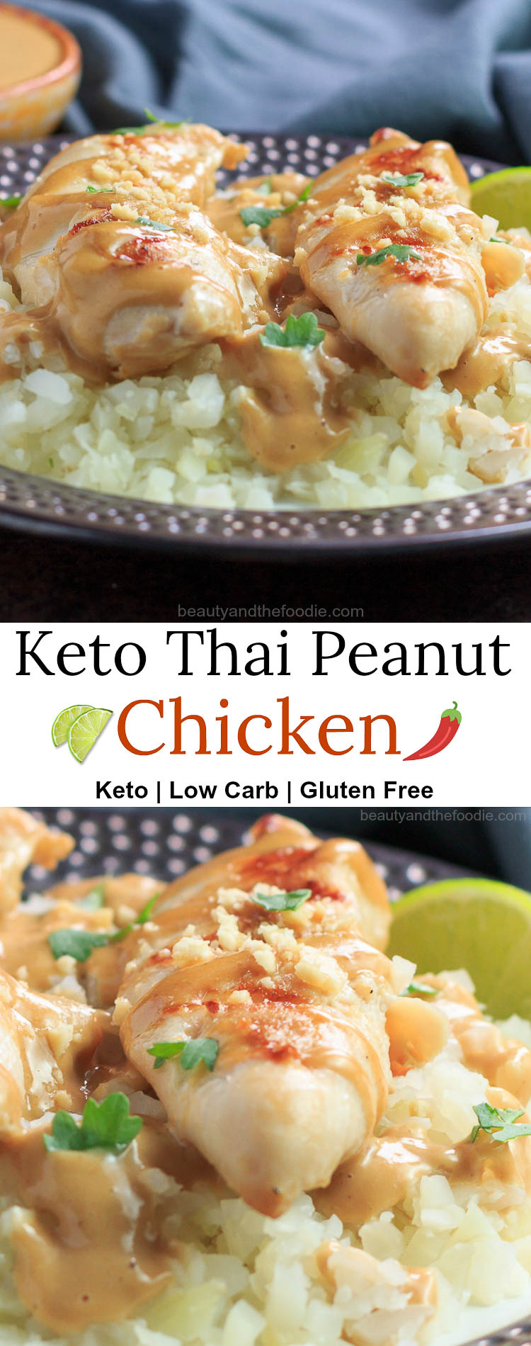 Keto Thai Peanut Chicken- keto , low carb with paleo & nut free option.