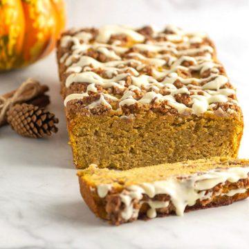 Keto Pumpkin Streusel Bread- Low carb, paleo, & gluten free