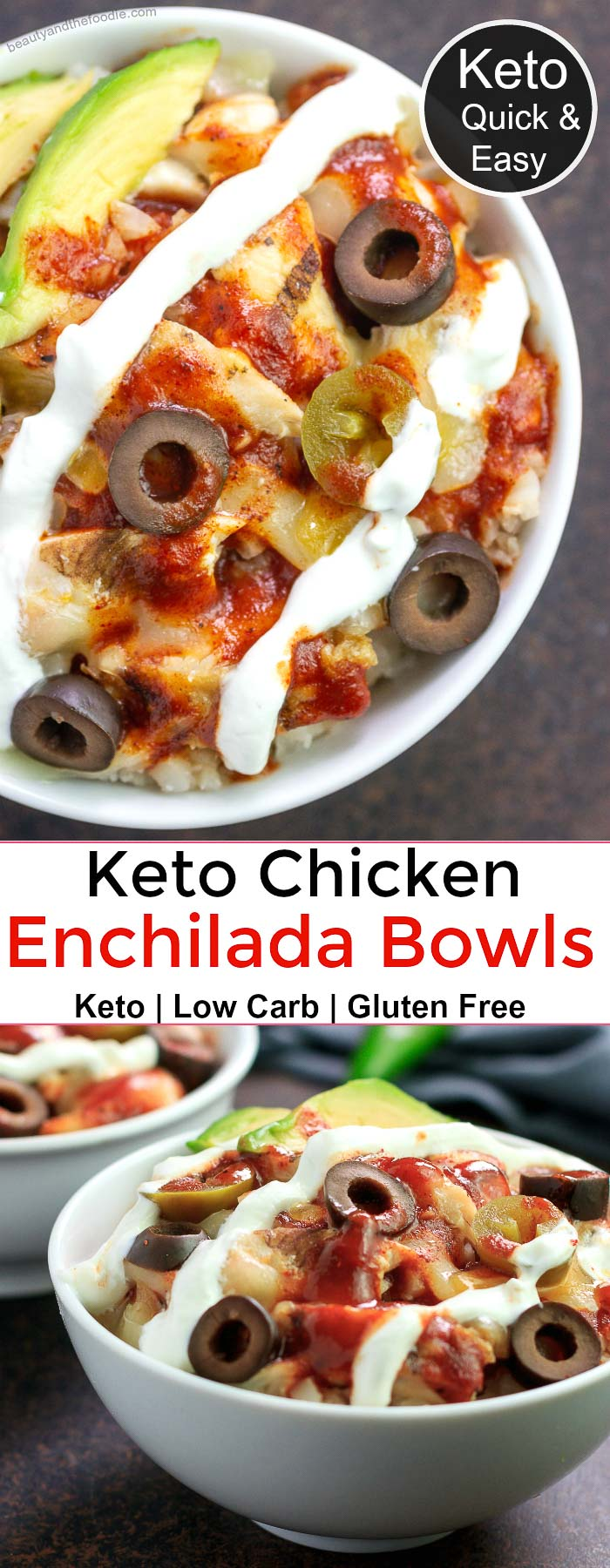 Keto Chicken Enchilada Bowls- low carb & gluten free
