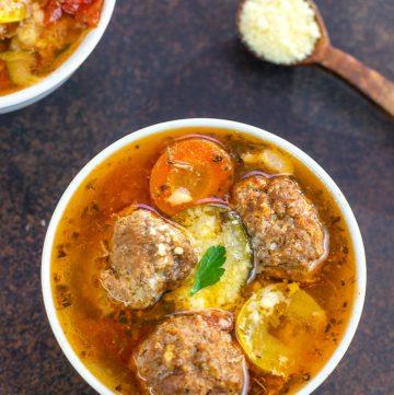 Keto Meatball Minestrone Soup
