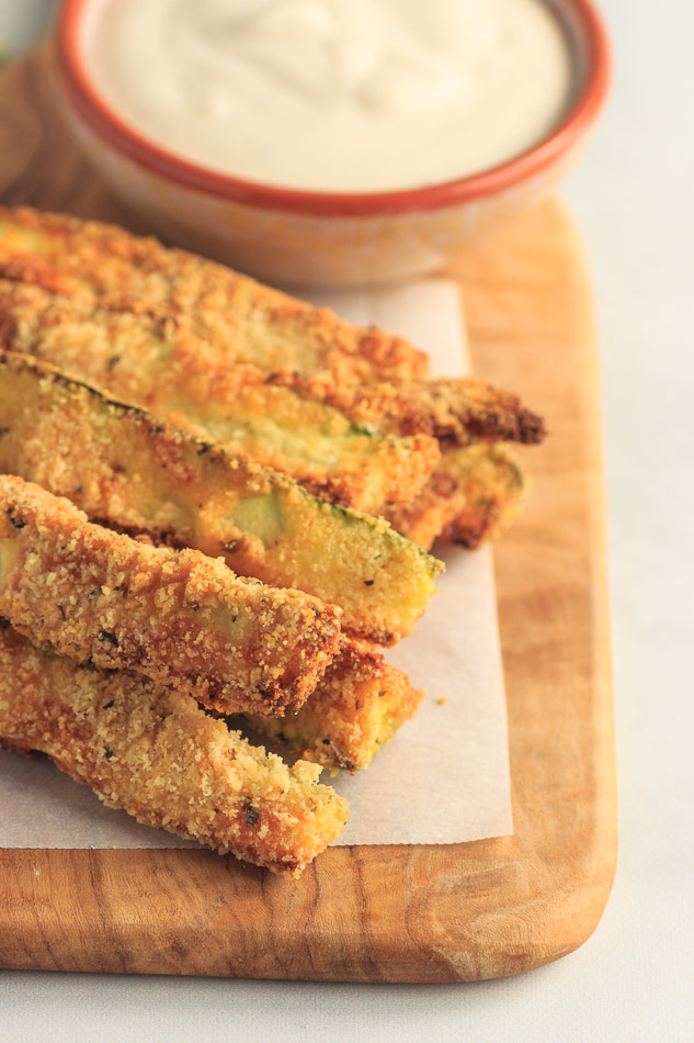 Low Carb Zucchini Fries made in the air fryer or oven.
