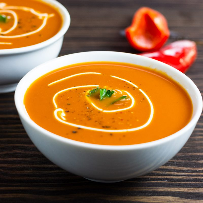 Low Carb Creamy Roasted Red Pepper Soup