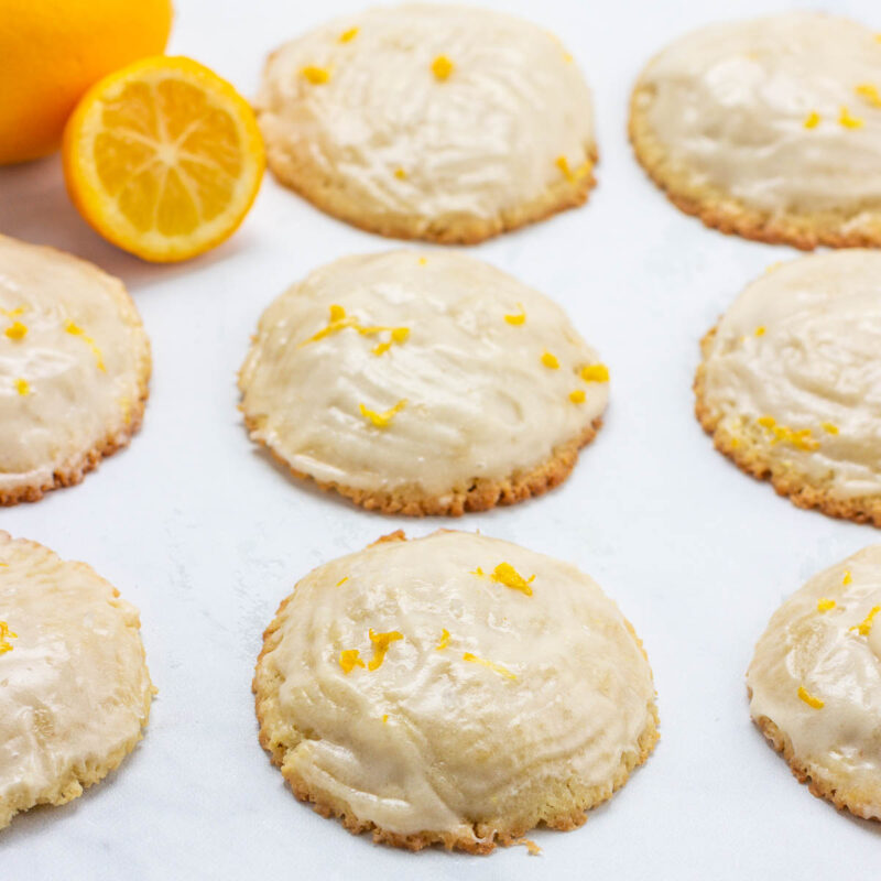 Low carb keto lemon cream cheese cookies with lemon icing