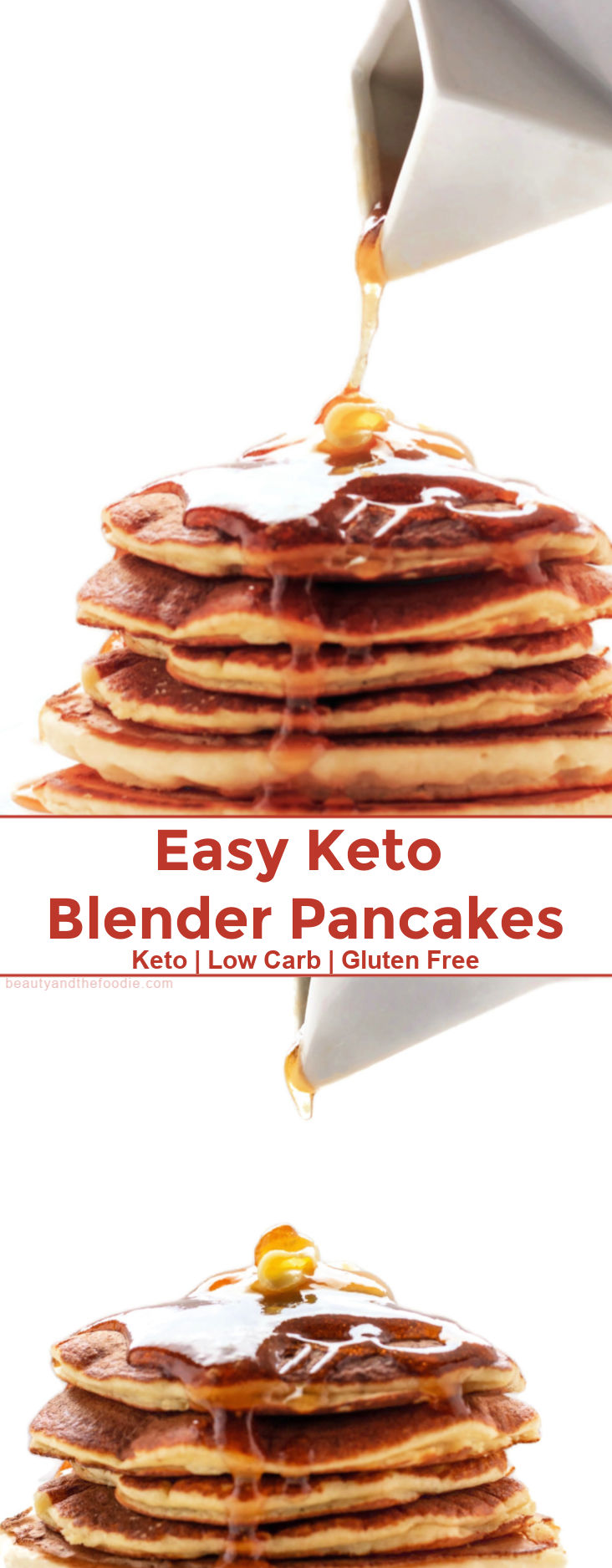 A stack of keto pancakes with syrup running down them.