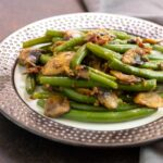 Instant Pot bacon and mushrooms on green beans.