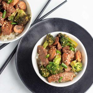 Keto Broccoli Mushroom Asian Style Beef Bowls