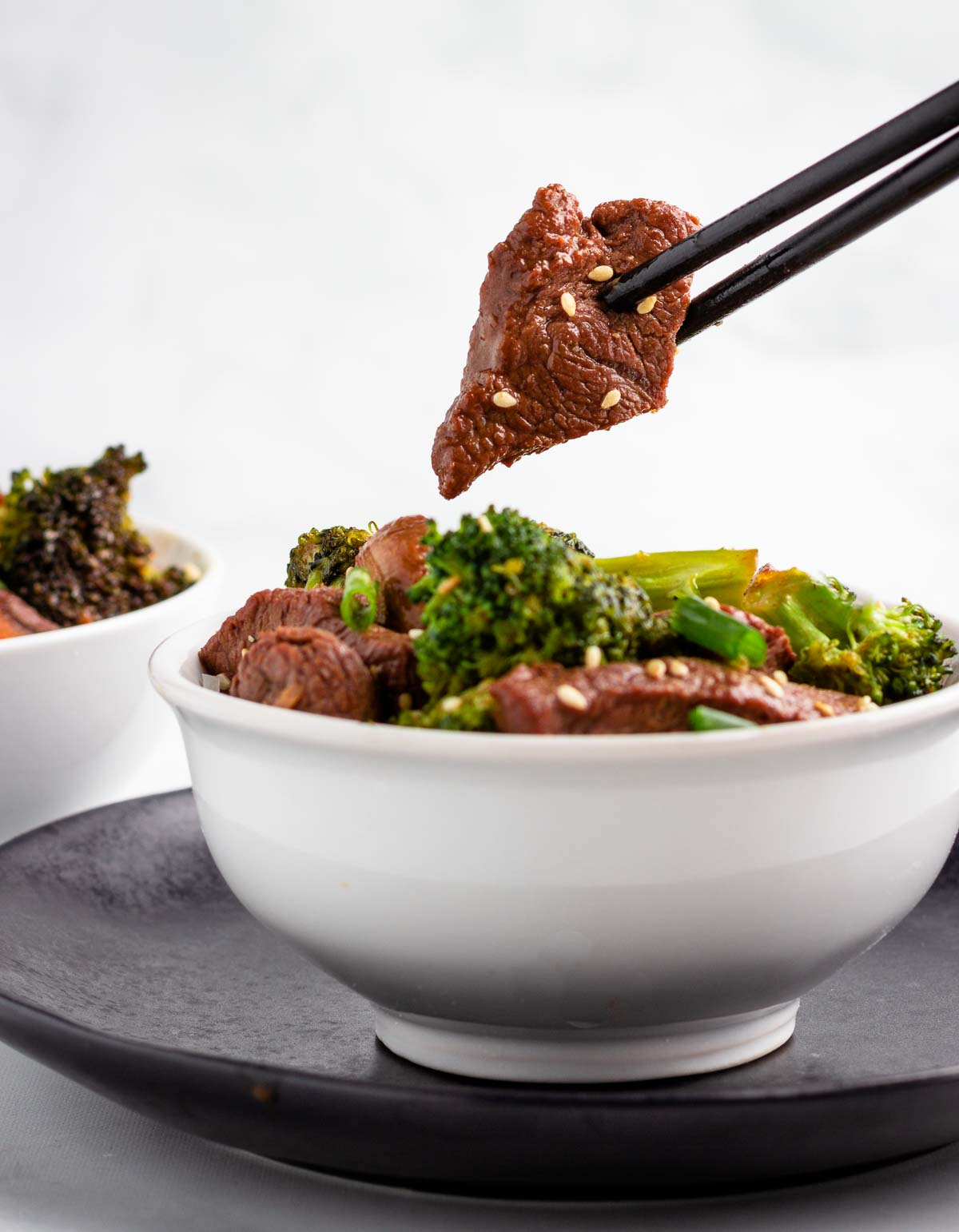 Keto Broccoli Mushroom Beef in a Bowl.