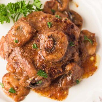 Low carb salisbury steak patty in brown gravy