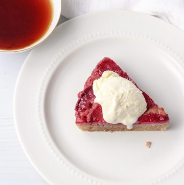 Low Carb Plum Upside Down Cake slice with low carb ice cream
