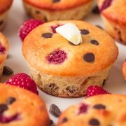 Keto Chocolate Chip Raspberry Muffins