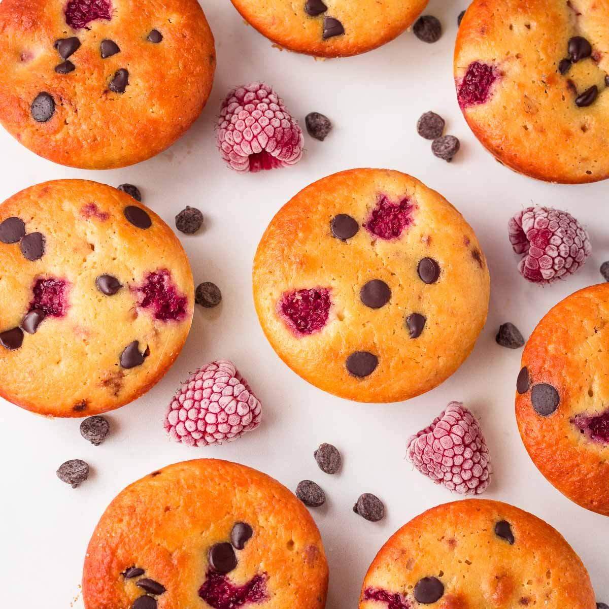 muffins with raspberries and chocolate chips.