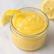 A jar of low carb lemon curd.