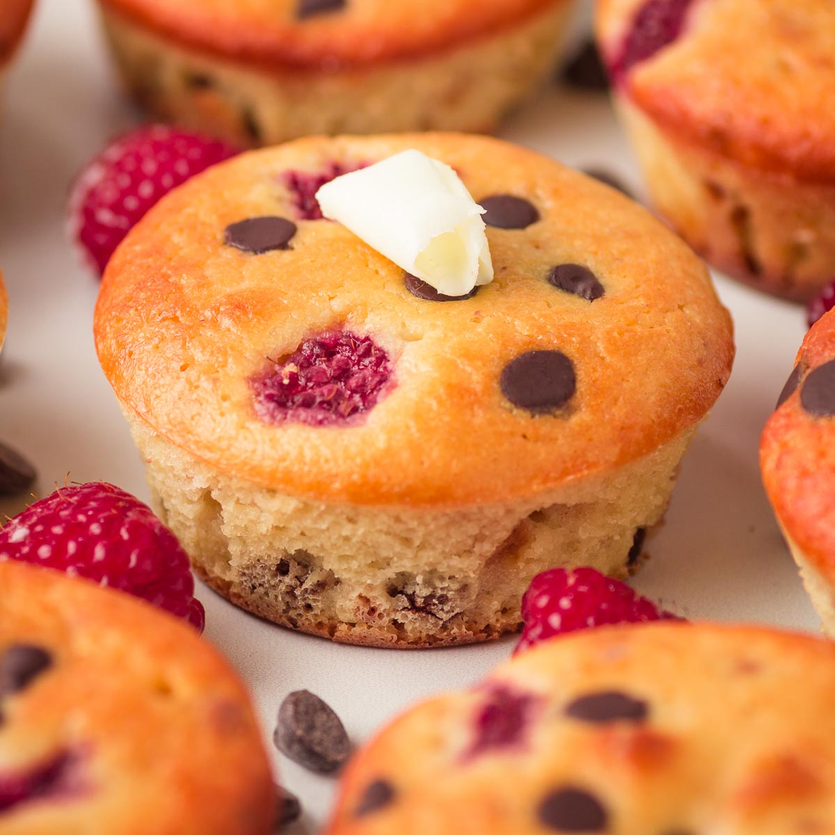 low carb muffins with raspberries and chocolate chips