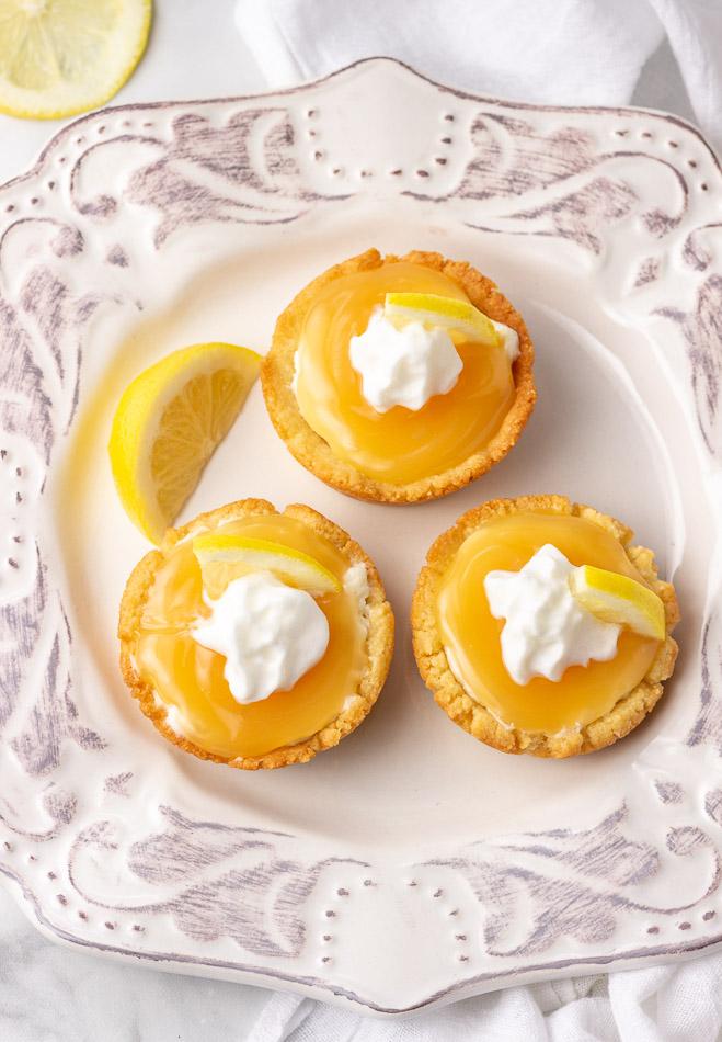 keto lemon cream tarts with whipped cream