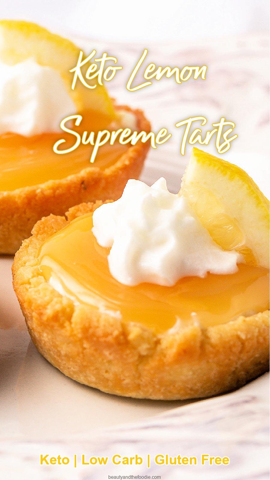 Two sugar free lemon mini tarts with cream