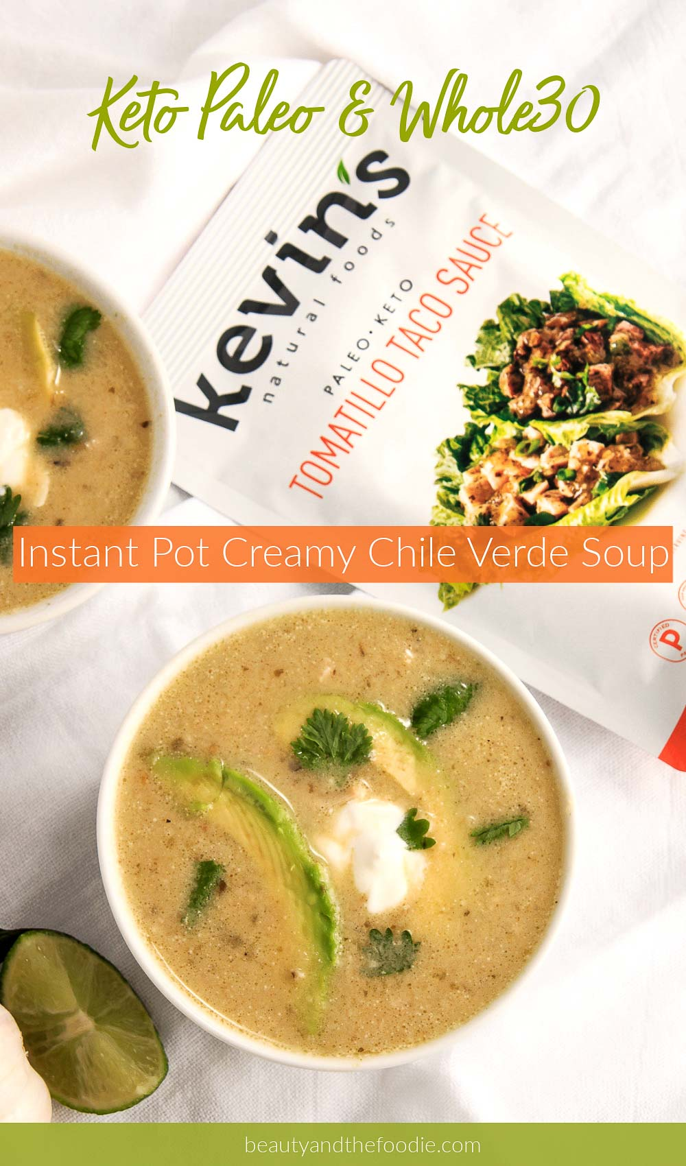 a creamy chile verde soup made in the Instant Pot.
