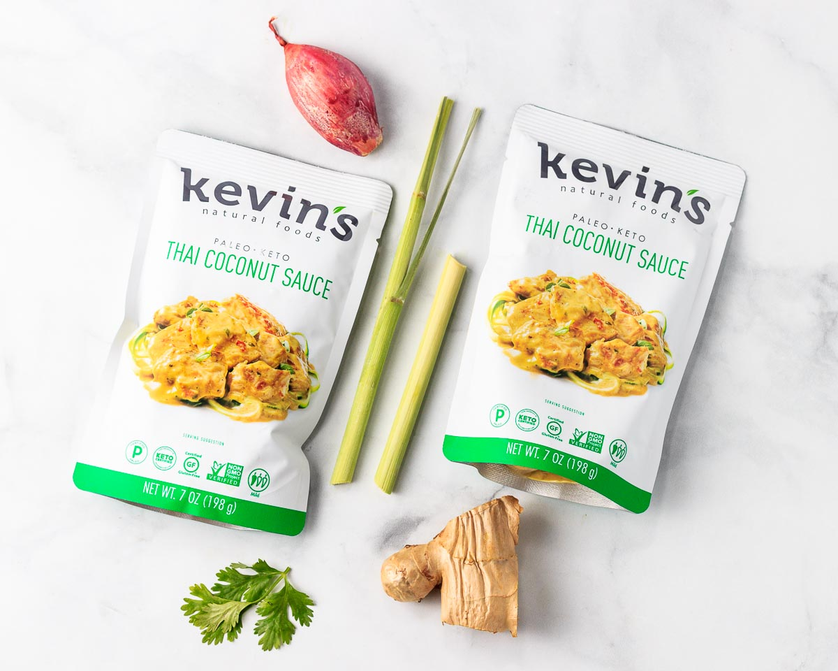 2 packets of Kevin's Thai Coconut Sauce.