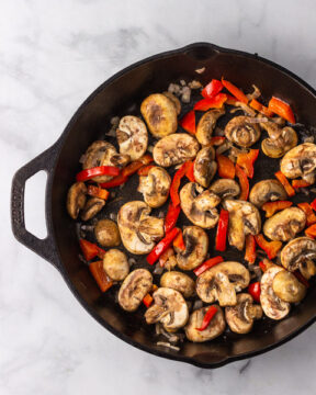 Sauté veggies in pan.