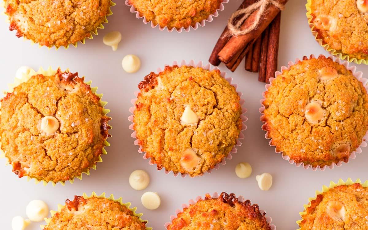 overhead shot of keto pumpkin muffins.