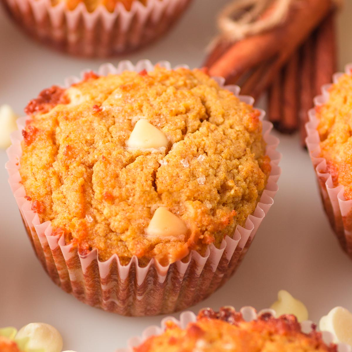 low carb pumpkin muffins with white chocolate chips