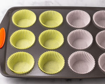 Line baking cup in pan.