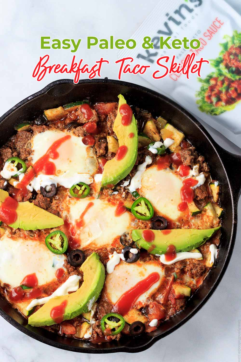 A Mexican breakfast skillet with eggs.