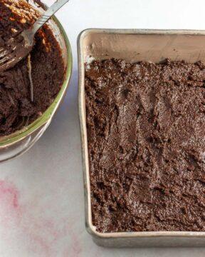 Spread batter in pan.