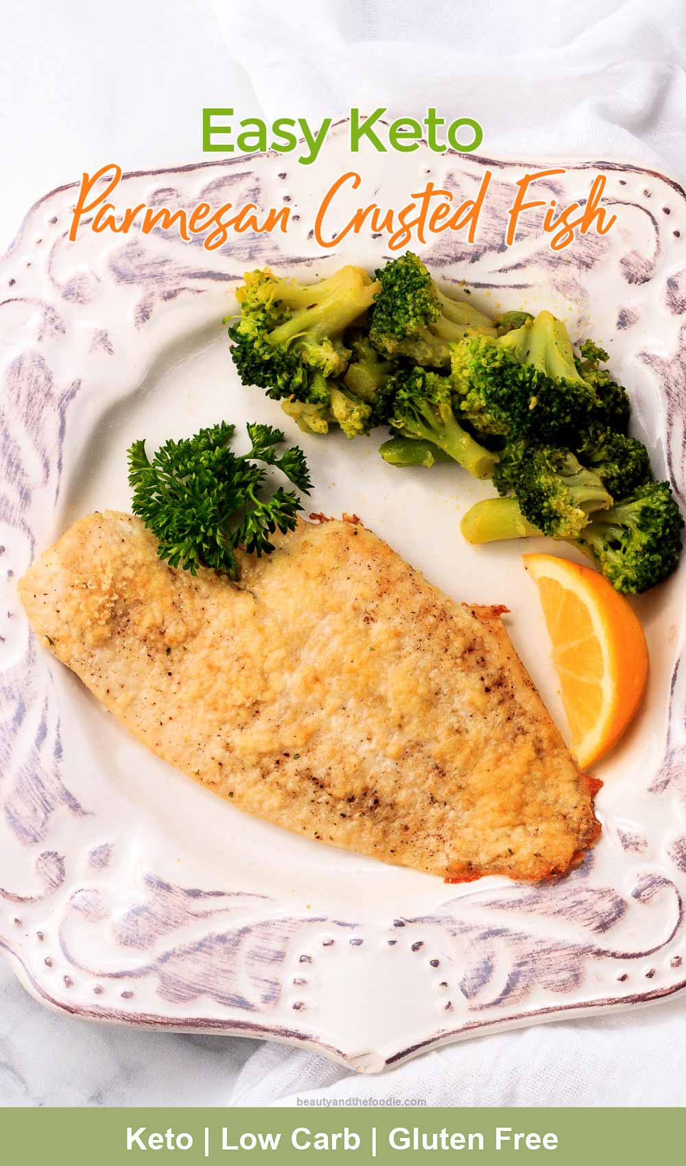One low carb breaded parmesan cruste flounder fish fillet with broccoli.