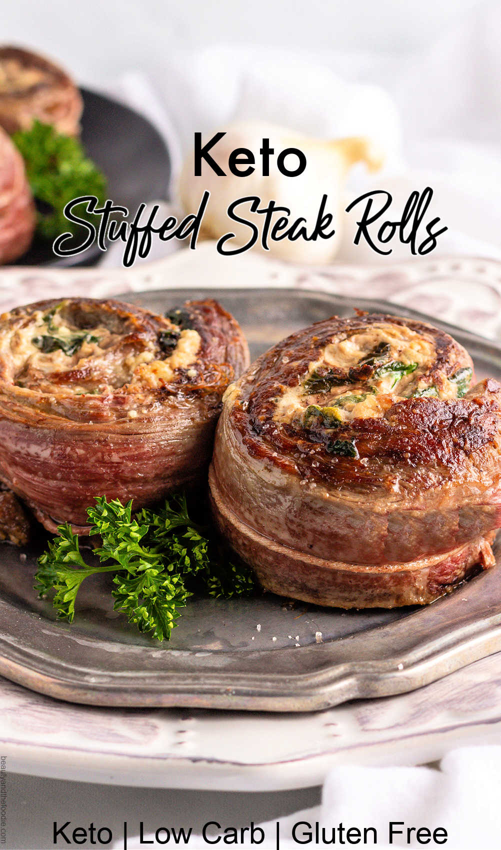 low carb sinach cheese stuffed flank steak rolls.