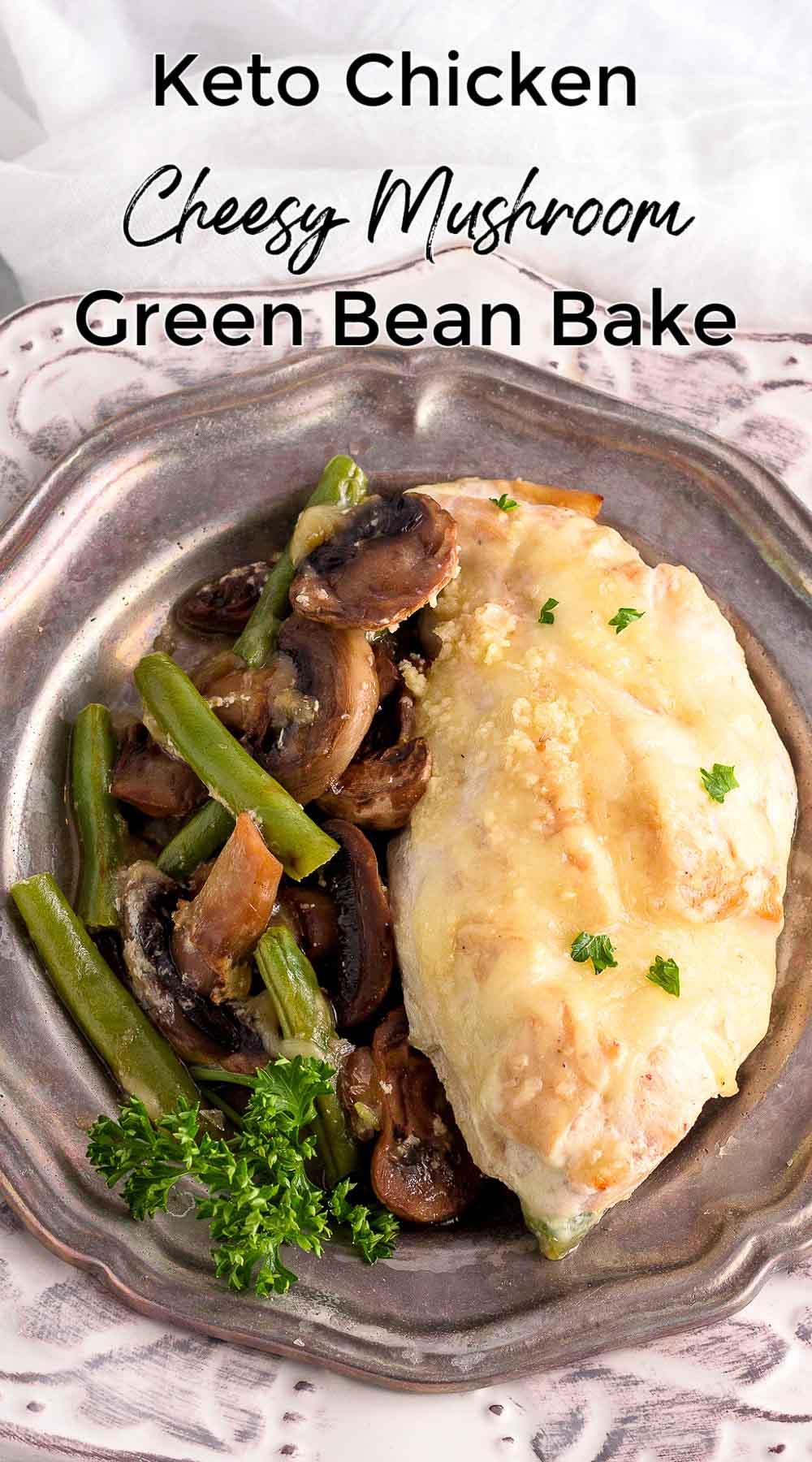A one dish chicken mushroom green bean entrée in a cream sauce