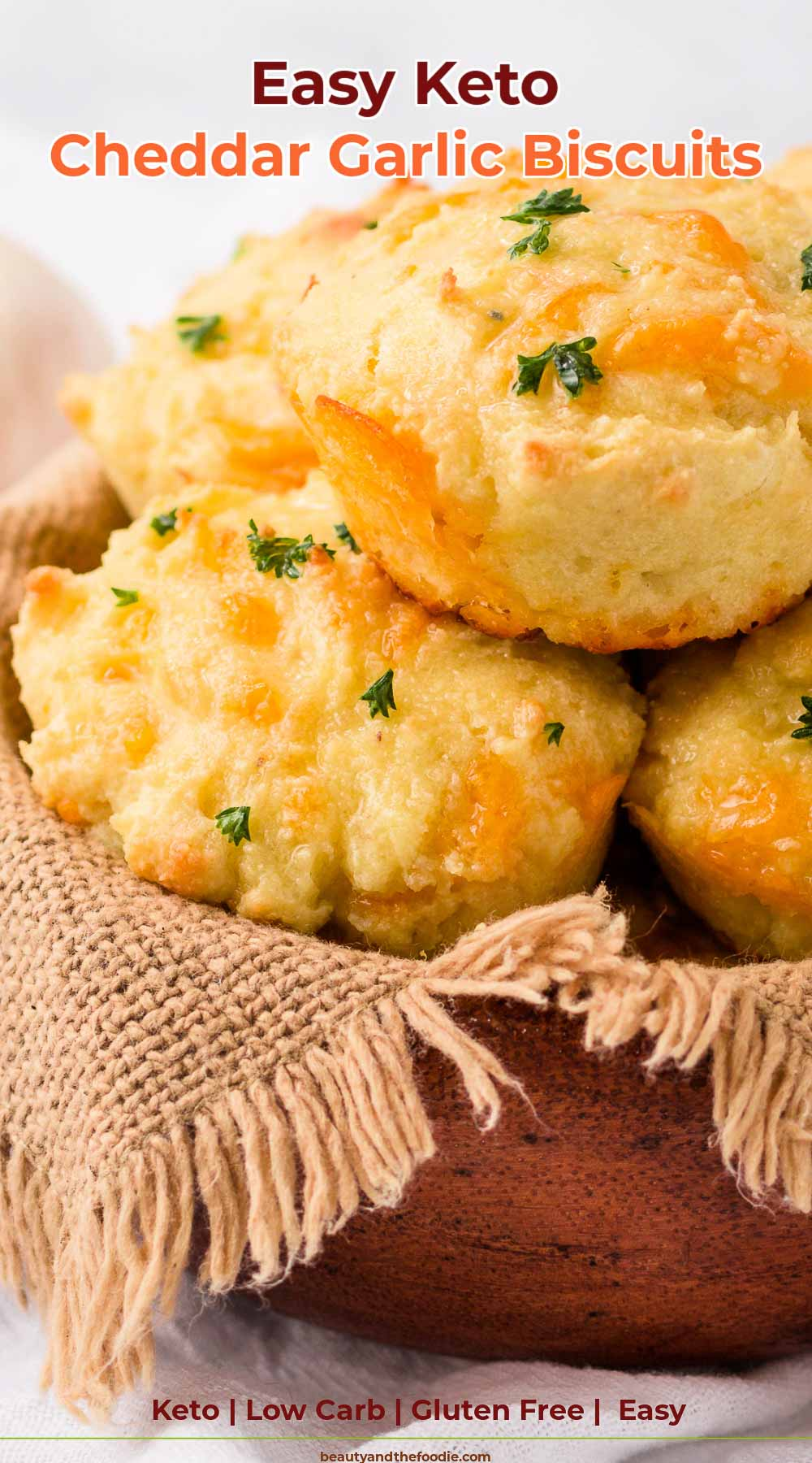 A basket of gluten free, low carb, garlic, cheddar biscuits
