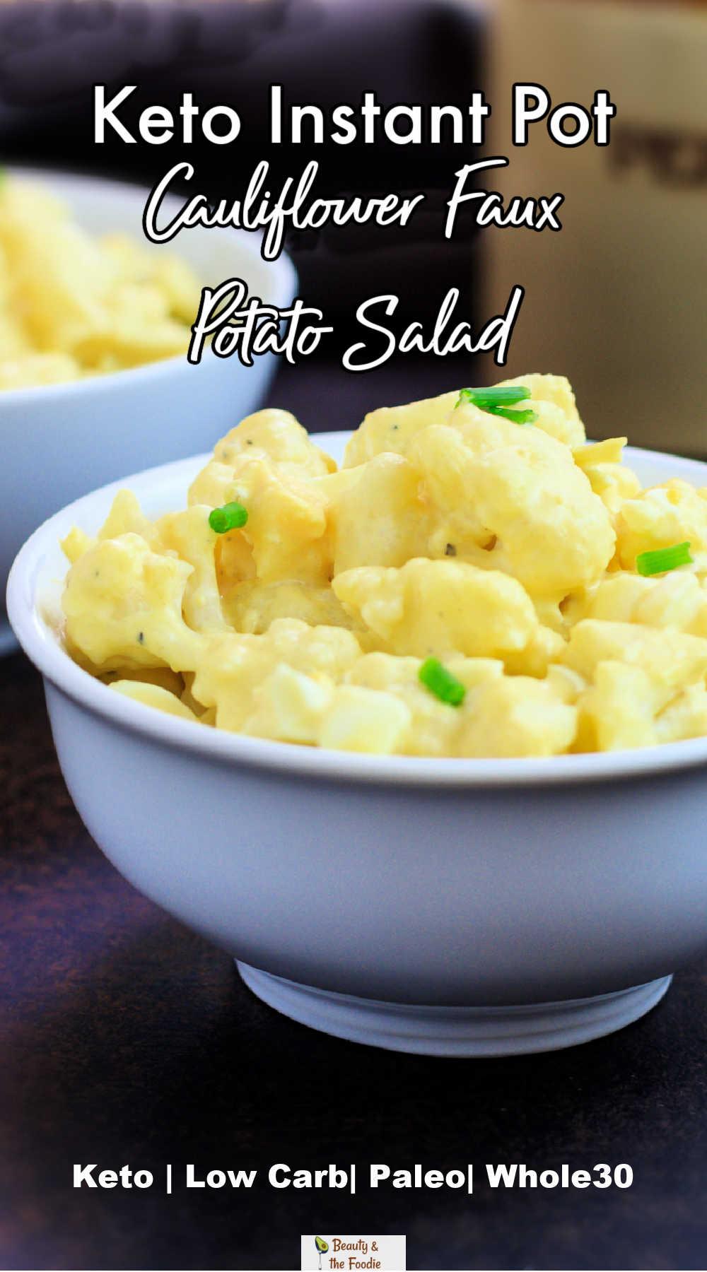 A bowl of keto faux potato salad.