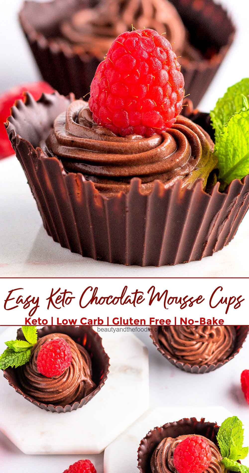 Four chocolate cups filled with chocolate mousse and topped with a raspberry.