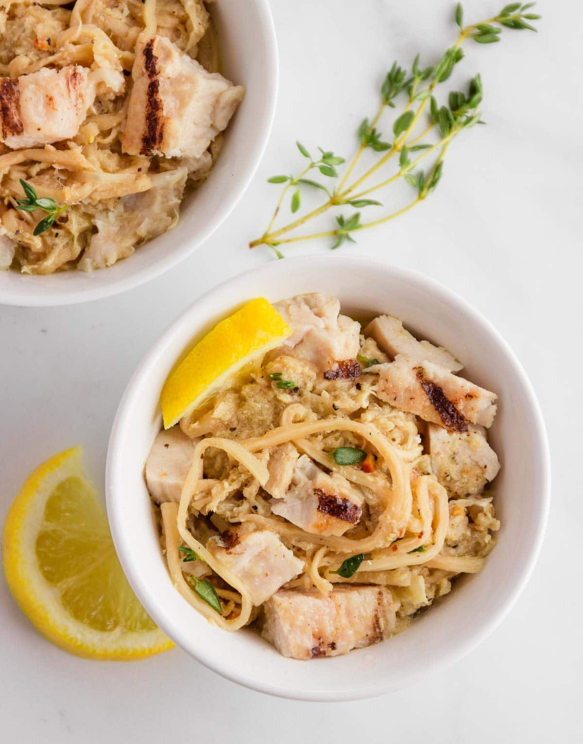 Low carb hearts of palm noodles with chicken and veggies in a lemon butter cream sauce.