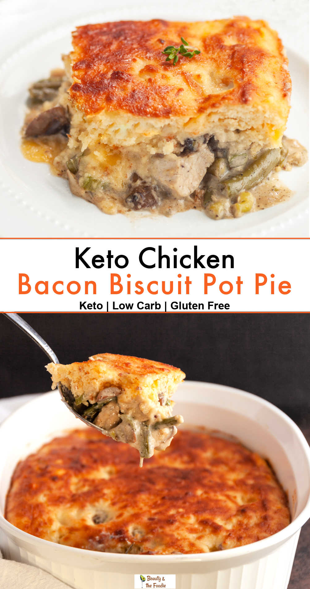 A keto pot pie with chicken, veggies & a biscuit crust.