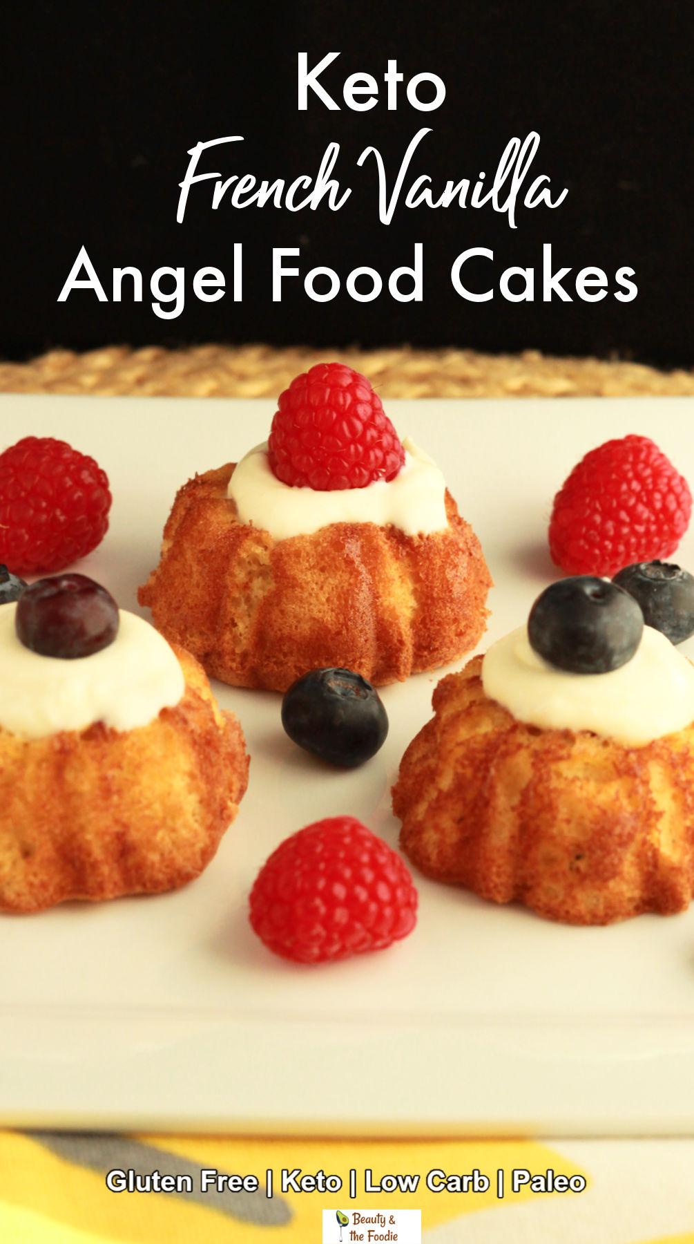 Mini vanilla bundt cakes with whipped cream & berries